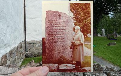 Morfar vid stenen i Köla